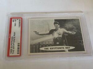 Superman Trading Card 1966 Topps PSA 8 Kryptonite Ray Kal El Clark Kent #61 vtg