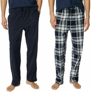 Nautica Men's Fleece Lounge Pajama Pants 2-Piece, Navy Check/Navy Plaid Size M