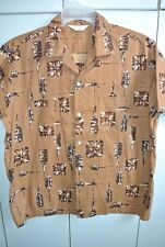 Personality Mens Large Kahili Royal Hawaiian Feathered Standards on Brown/Mint