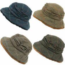 Wool Tweed Hat Ladies Herringbone Cloche Wide Brim Festival Ruched Crown