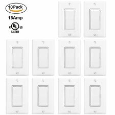 10PK BESTTEN 15A WALL LIGHT SWITCHES WITH PLATES RESIDENTIAL GRADE GROUNDING
