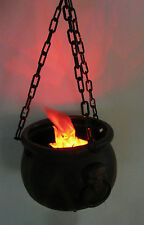 Flaming Cauldron Lighted Fire Hanging Witchs Pot Haunted House Halloween Prop