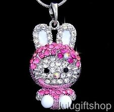 HELLOKITTY CAT RABBIT PENDANT NECKLACE USE SWAROVSKI CRYSTALS WHITE GOLD PLATED