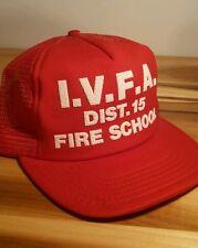 Vintage 70's 80's Fire School Hat Firefighter Trucker Snap Back Mesh Hipster