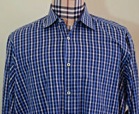 Bugatchi Uomo Mens Blue White Gingham Check Aqua Cotton Shirt XL