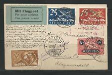 Switzerland Airmail 14 August 1924 postcard Pontresina via Zurich to Berlin