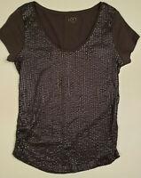 Ann Taylor LOFT Womens Size S  Short Sleeve Gray Sequin Top Beaded Small Shirt