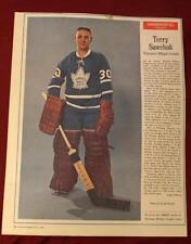 Vintage 1960's Terry Sawchuk Maple Leafs Weekend Magazine Full Goalie Photo !
