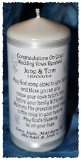 Personalised Wedding Vow renewal white candle gift #10