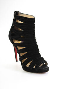 Christian Louboutin Womens Suede Strappy Stiletto Heel Booties Black Size 7.5 M