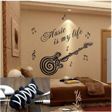 Music is my life Guitar Pattern Vinyl Decal Sticker Wall Decals Home Decor +Gift
