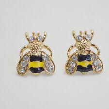 Gold Tone Black&Yellow Enamel Cute Bee Crystal Stud Earrings Art Deco Gift