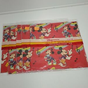 VTG Disney MICKEY MOUSE Cleo Gift Wrapping Paper lot of 5 NOS (eu)
