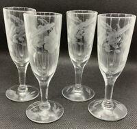 Vintage Etched Flower 1/2 OZ. Glass Stemmed Shot Glass Cordial Set of 4