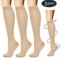 (3 Pairs) Compression X Socks Knee High 30-40mmHg Graduated Mens Womens S-XL