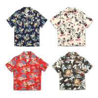 BOB DONG Summer Mens Aloha Hawaii Shirt Hawaiian Short Sleeve Print Shirts Party