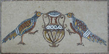 Floral House Decor Rug Two Exotic Birds Vase In The Middle Marble Mosaic An919