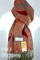 DG Pashmina Scarf Wrap Shawl,Paisley Red/Gold.Silk Cashmere,Soft