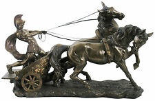 Veronese Bronze Figurine Large Ancient Roman Soldier riding on Chariot Statue