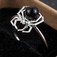 HOT 925 Silver Punk Spider Jewelry Round Cut Black Pearl Women Wedding Ring