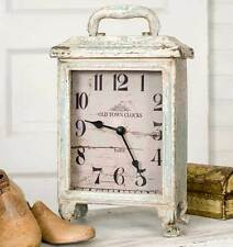 New Vintage Style Blue/White Distressed Table Carriage Clock Shabby Chic