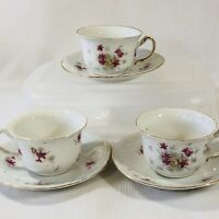 Antique 1900's Victoria Carlsbad Austria Porcelain Pink Flowers Teacup & Saucer