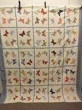 Rare Unique Vtg 1930s Flour Sugar Sacks Hand Sewn Butterflies Quilt Top 84x95