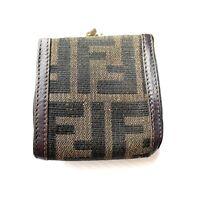 Fendi Vintage Wallet Folding Zucca Brown Canvas Leather Authentic