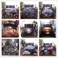 Floral Sugar Skull Duvet Quilt Cover Bedding Set Twin Queen King Pillow Case Set
