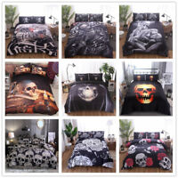 Floral Sugar Skull Duvet Quilt Cover Bedding Set Twin Queen King Pillow Case Set
