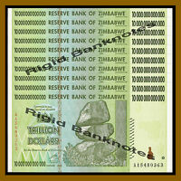 10 x ZIMBABWE 10 TRILLION DOLLAR AA Uncirculated 2008 MONEY CURRENCY [20 50 100]