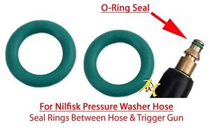 Nilfisk Pressure Washer 2 Green O Ring Rubber Seals for Hose Male End fitting