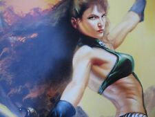 Julie Bell Art Poster Fantasy Brinke Stevens Signed Scream Queen Vintage Sexy 95
