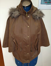 WITCHERY Olive Green Zipper Front Winter Poncho Faux Fur Edged Hood XS/S