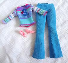 Barbie Clothes Fashionista Pants Stripe Top Corduroy Blue Pink High Heel Shoes