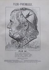 Belloguet PHRENOLOGIE DES PRANGERS PIUS IX Karikatur um 1907 Druck