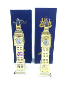 2X Crystal Big Ben Gold Colour With Real Clock And Led Changing Colour  Light