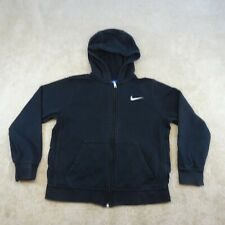 Nike Sweater Youth Medium 10 - 12 Years Black White Logo Full Zip Kids Boys *