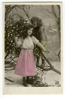 c 1910 Children Child Cute PRETTY YOUNG GIRL tinted French photo postcard