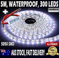 Cool White 5050 Led Strip Lights 300 LEDs Waterproof Flexible DC 12V + DIMMER