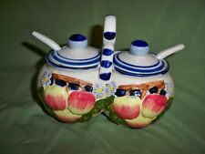 Sweet Country Cruet Set with Spoons & Carry Handle Blue & White Apple & Flowers