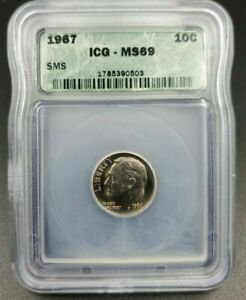 1967 P Roosevelt Clad Dime Coin Vintage ICG MS69 SMS No Toning Beautiful Coin