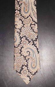 Claybrooke Tie Silk Black Peach Brown Tan Teal Paisley Design NIB t4704