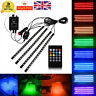 4X 18LED RGB LED Neon Strip Lights Music Remote Control Car Interior Footwell UK