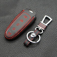 New Red Leather Remote Smart 5 Buttons Key Holder Cover Case For Ford Edge Fob
