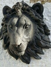 LION HEAD WALL PLAQUE STONE GARDEN ORNAMENT black various colors available