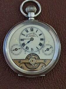 Outstanding Hebdomas 8 Day 925 Silver Cased Calendar Pocket Watch