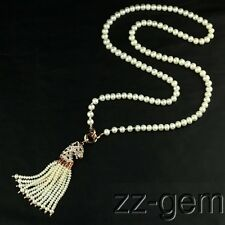 round freshwater pearls necklace N1610079 32'' 7-8mm white