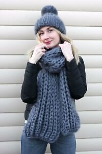 2 items Premium Mohair SCARF & HAT hand knit Dark gray Jane Rodas
