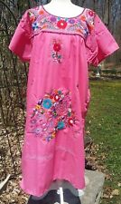 Puebla Dress Mexican Embroidered Peacock Flowers Floral Chiapas Large L Pink P